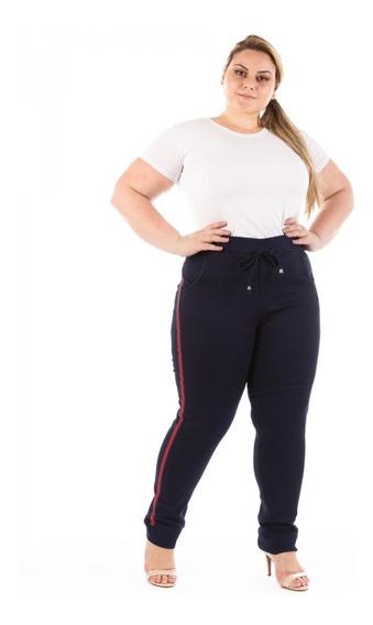 Calça Jeans Feminina Jogger Com Listra Plus Size Caj238