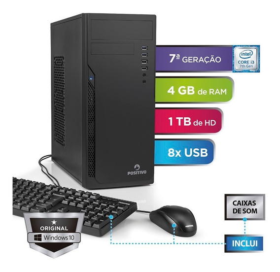 Computador Station 41tb Intel Core I3 Windows 10 Home Preto