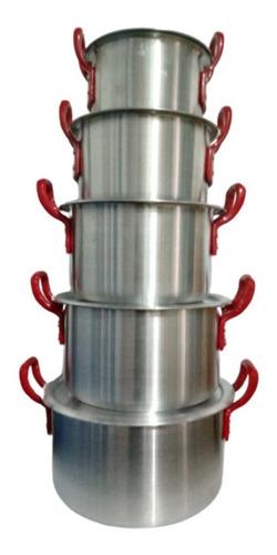 Juego De Ollas, Caldero Con Orejas En Aluminio X5 De 14-22cm