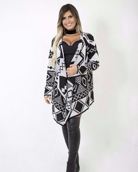 Malha Feminina De Trico Lã Blusa Quimono Cardigan