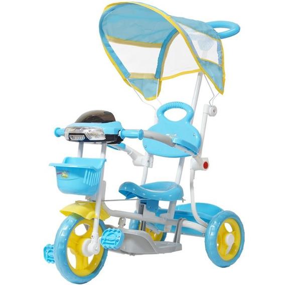 Triciclo Motoca Infantil Passeio Empurrador Pedal Som Azul