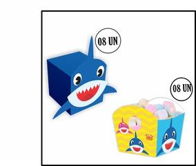 8 Cestinhas+8 Caixas Surpresa Lembrancinha Shark Tubarão