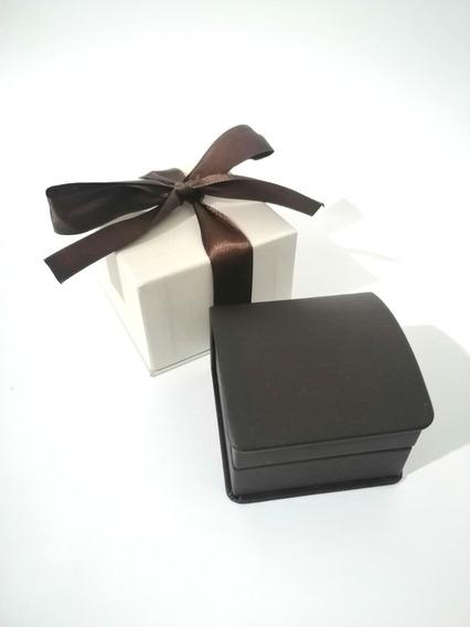 Caja Elegante Para Anillo De Compromiso Negra Con Moño