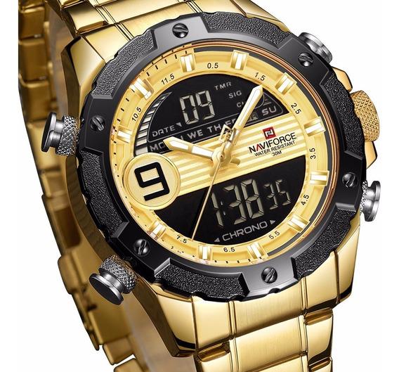 Relógio Masculino Digital Dourado Data Origina Naviforce