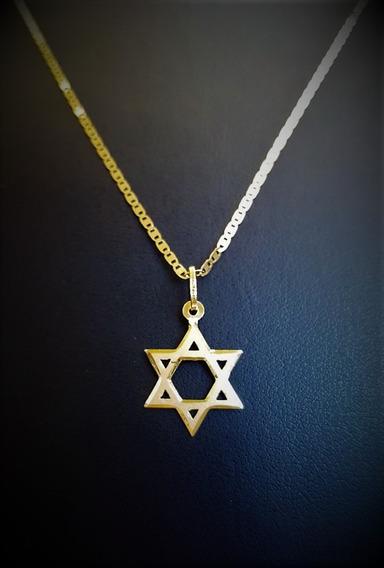 Cordão Em Ouro Piastrini 70cm Com Ping Estrela De Davi