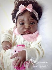 Boneca Bebê Reborn Afro Menina Corpo Tecido Penélope 55cm
