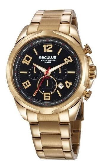 Relógio Seculus Masculino Cronógrafo Em Aço Dourado - 28958gpsvda1