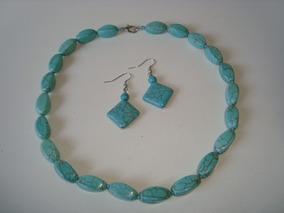 Colar Pedra Facetada Howlita Azul Turquesa Natural Brincos 1