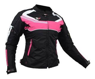 Chamarra De Moto R7 Racing R7-247 Mujer Rosa Con Protección