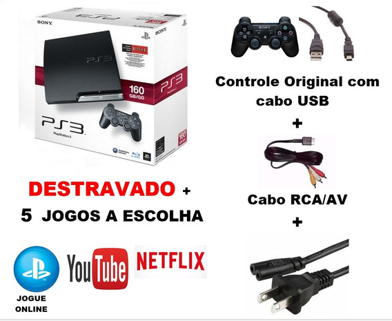 Playstation Ps3 Slim Desbloqueado 120gb + 5 Jogos + Nf