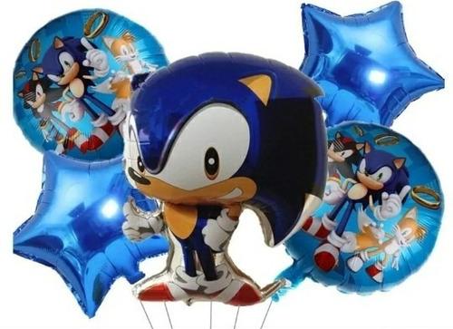 Globo Metalizado Sonic  Paquete × 5 Unidades.