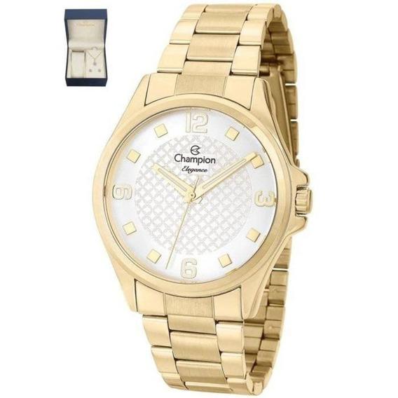 Relógio Champion Feminino Com Kit Colar E Brincos Cn27563w