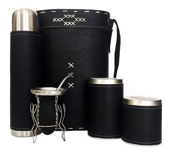 Equipo De Mate Ceramica Completo Liso Negro Set Kit Matero