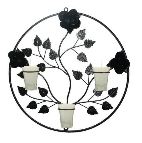 Mandala 3 Rosas Decoração Parede Flor Porta Vela Arandela 38