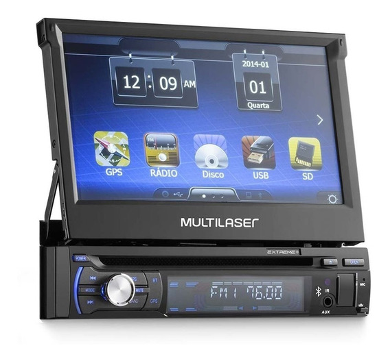 Dvd Retrátil Multilaser Extreme Gp044 Tela 7 Usb Gps Tv Sd