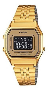 Casio Ladies Mid-size Gold Tone Digital Retro Watch La-680w