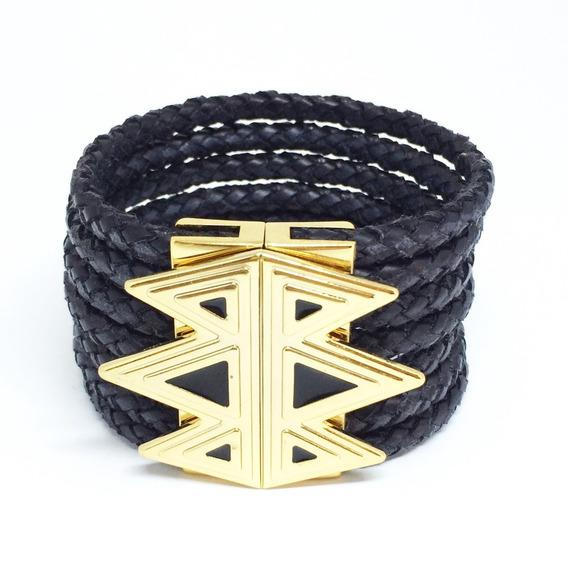 Bracelete Feminino Dourado Largo De Couro Pulseiraria Chic