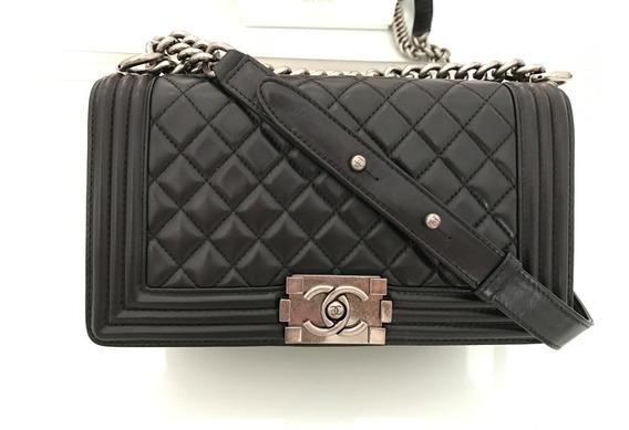 Bolsa Chanel Le Boy Media Lambskin Original Na Caixa