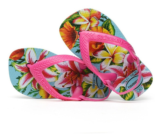 Sandálias Havaianas - Chinelo Infantil Baby Chic Azul/rosa