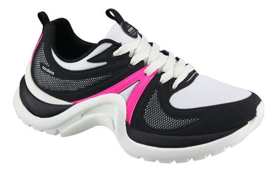 Tênis Feminino Azaleia Chunky Conforto 812/524 Preto/pink
