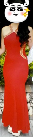 Vestido De Gala Grado Rojo Bordado