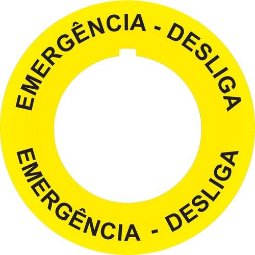 Imagem 1 de 6 de Placa Plaqueta Adesiva Para Botões Emergência Nr12 Nr10 10un