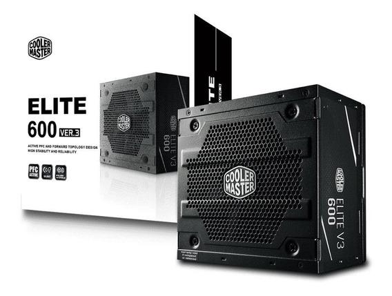 Fonte Atx 600w Cooler Master Elite V3 Pfc Ativo Mpw-6001