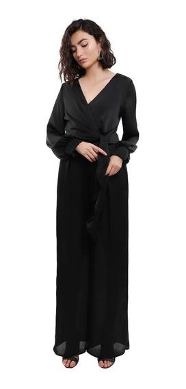 Jumpsuit Pantalón Mujer Escote V Cruzado Color Negro Lob