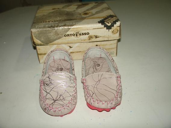 Menina Sapato Mocassim Ortopasso Creme Rosado Intacto 20 Tam