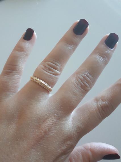 Anel C/pedras Folheado Ouro 18k - Tam: 16 - 40% Off