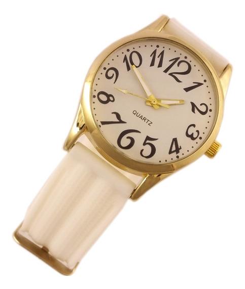 Relógio Feminino Quartz De Pulso Com Pulseira Branca B5632