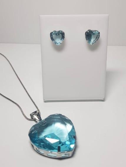 Conjunto Coração Zirconia Azul 30mm Com Garantia Semijoia