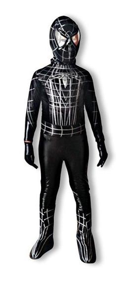 Disfraz Spiderman O Hombre Araña Negro Niño Mod. 1