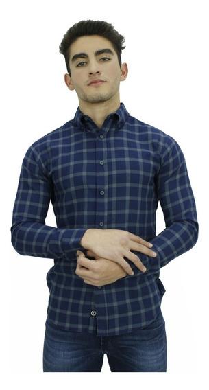 Camisa M/l Cuadros Marino