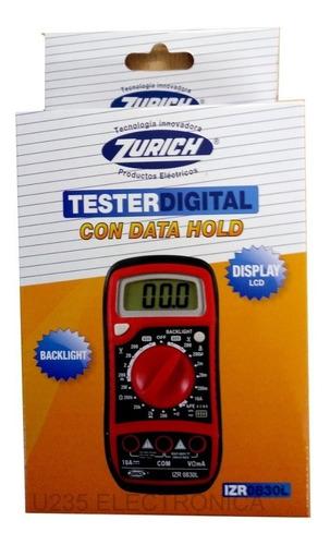 Imagen 1 de 3 de Tester Multimetro Digital Transistor Diodo Voltage Zurich Izr0830l
