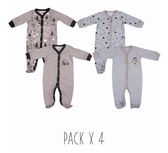 Enterito Pijama Bebe Pack X4 Mickey Pooh Manga Larga Disney