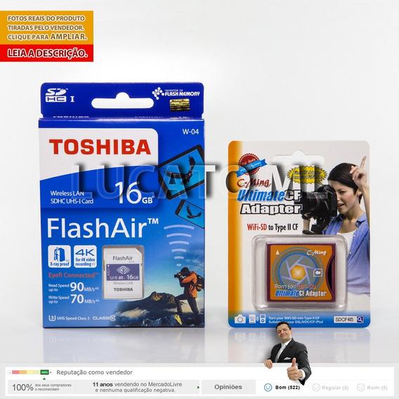 Adaptador Sd P/ Cf Ii + Sd Wifi Flashair Toshiba 16gb W04 Ap