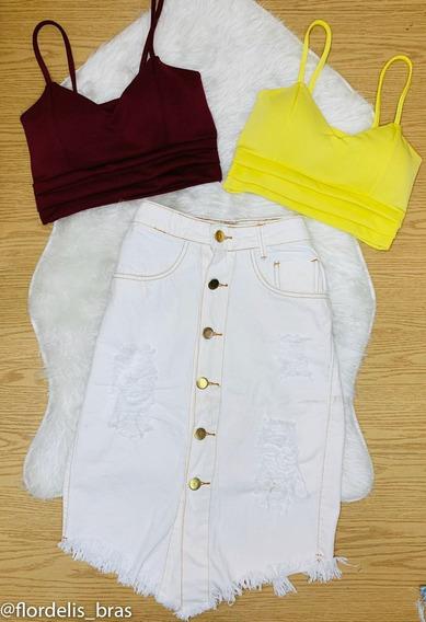 Saia Jeans Longa Lavagem Em Branco Com Botão Dourados