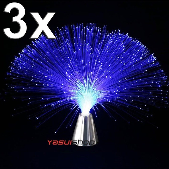 Suporte Cromado Luz Fibra Otica 8 Variacoes 3 Cores Optica
