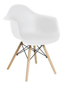 Cadeira Eiffel Base Madeira Com Braços Branca - Mor 009403