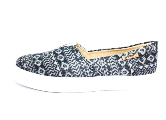 Tênis Slip On Quality Shoes Feminino 002 Étnico Brilho