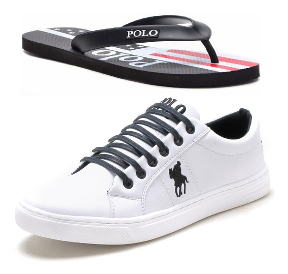 Kit Sapatenis Tenis Casual Polo Plus +chinelo