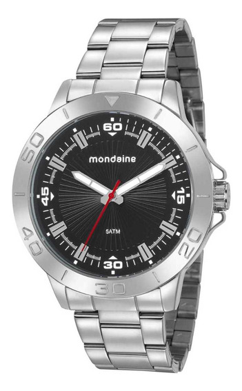 Relógio Masculino Prata E Preto Mondaine 76757g0mvne1
