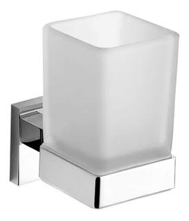 Portavaso Piazza Unique Vidrio Metal Accesorio Baño