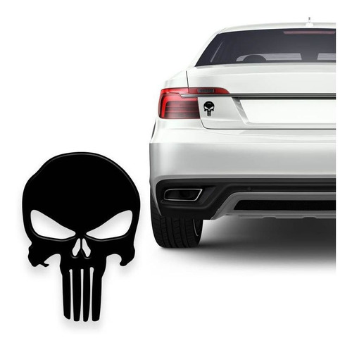 Adesivo Caveira O Justiceiro Preta Resinada Moto Carro