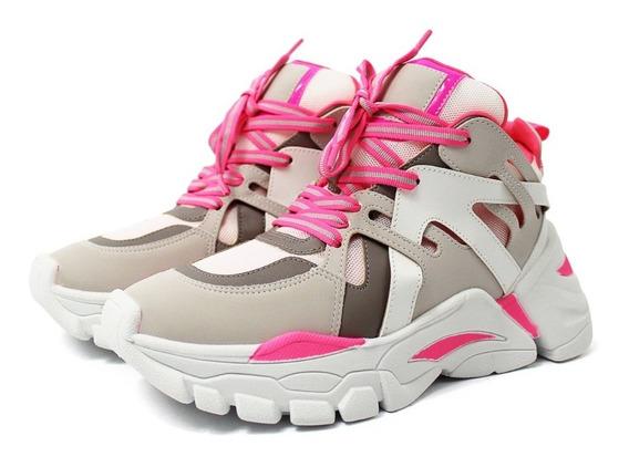 Tênis Feminino Rosa Neon Chunky Blogueira Estiloso Fashion