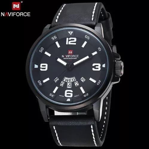 Relógio Pulseira De Couro Legítimo Naviforce Marca Japonesa
