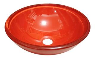 Bacha Apoyo Baño Vidrio Templado Rojo Pleno 31 Cm Metalgrif