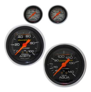 Kit 2 Relojes Temperatura Presión De Aceite 60mm Glicerina