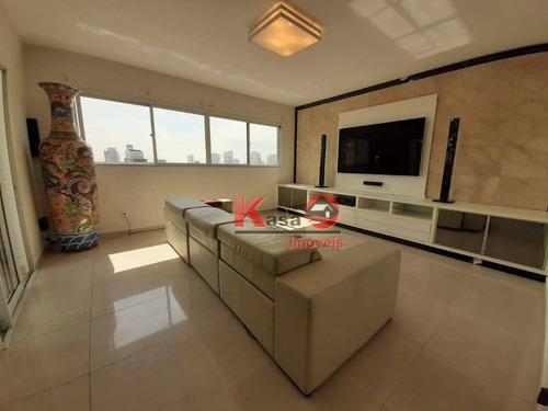 Cobertura Com 3 Dormitórios À Venda, 450 M² Por R$ 3.300.000,00 - Gonzaga - Santos/sp - Co0191